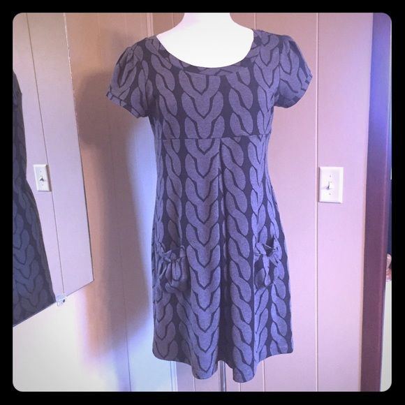 Grey And Black Dress With Pockets