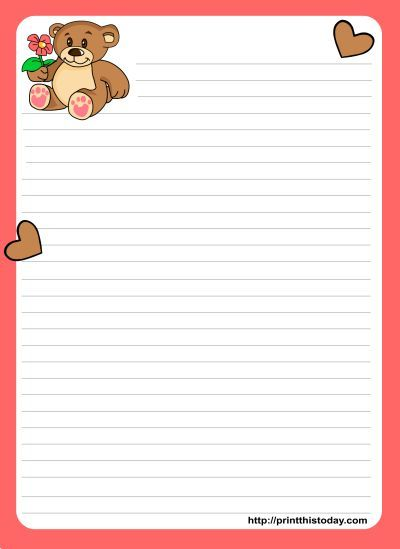 Cute Teddy Bear writing Paper with Backgrounds Writing paper