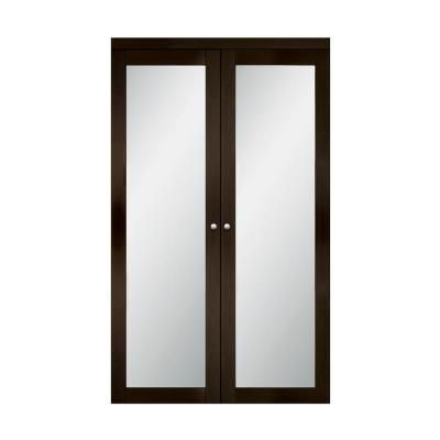 Truporte 24 In X 80 25 In Espresso 1 Lite Tempered Frosted Glass Mdf Interior French Door Brown In 2020 Frosted Glass Design Frosted Glass Sliding Closet Doors