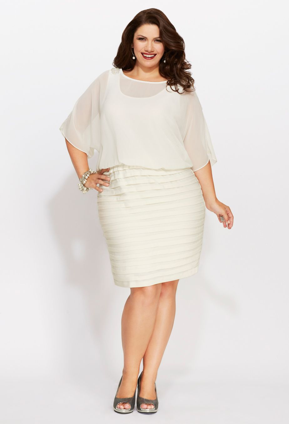 Plus Size Chiffon Pleat Bottom Dress | Plus Size Party Dresses ...