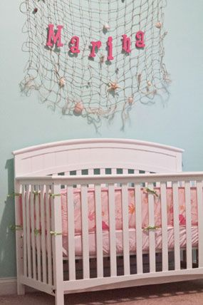 Pink And Blue Under The Ocean Sea Baby Nursery Netting With Starfish Over Crib