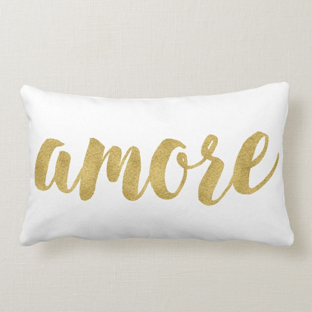 Modern Hand Lettered Gold Italian Amore Decorative Pillow
