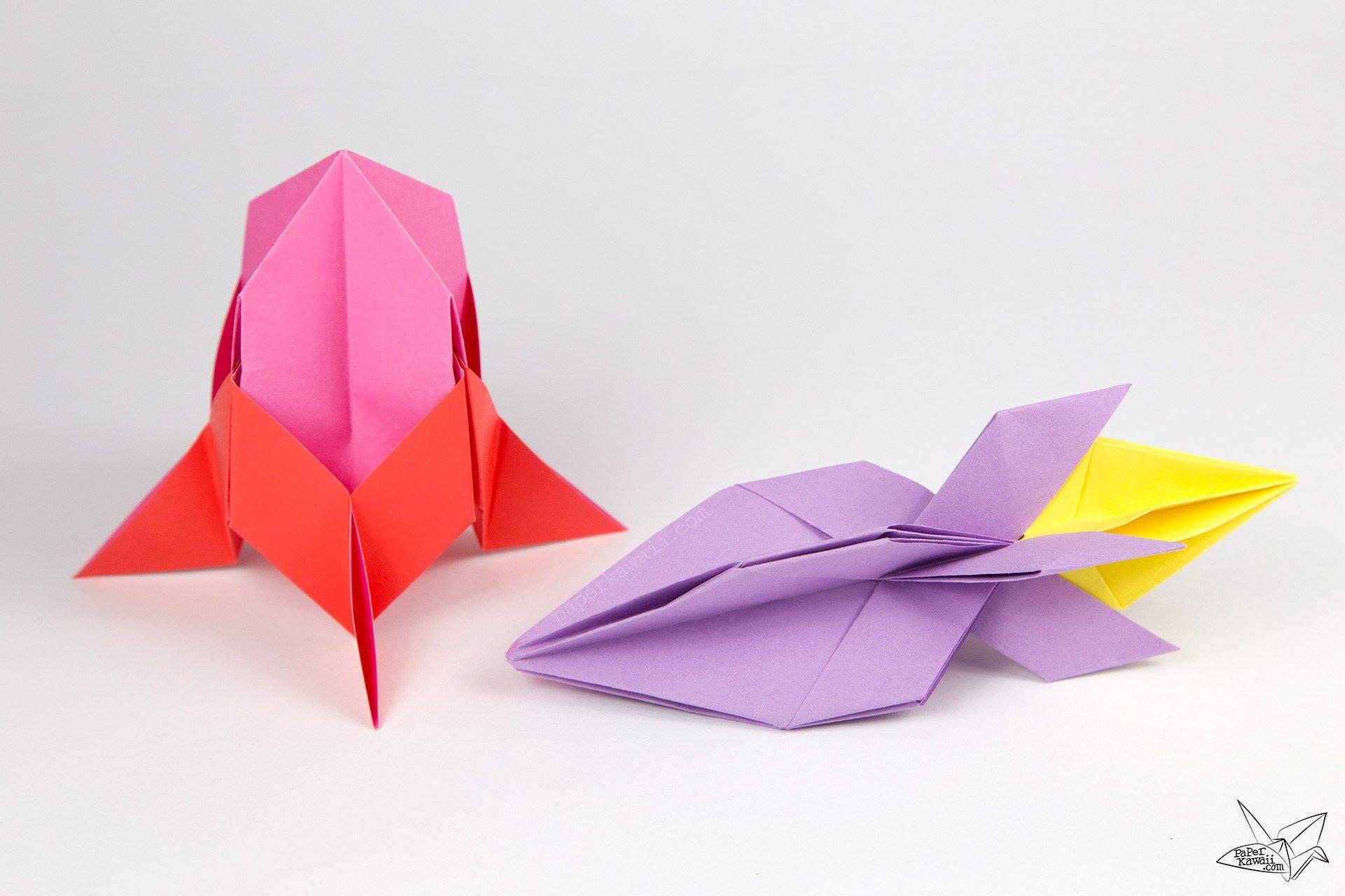 Easy Origami Rocket Spaceship Tutorial Pinterest Easy Origami