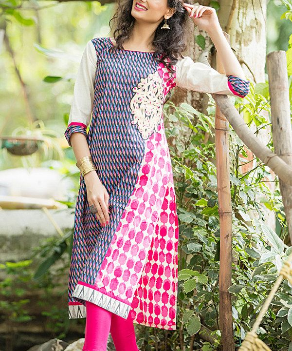 Look at this Vasundhara Fashions Blue & Pink Geometric Side-Slit Three-Quarter Sleeve Tunic on #zulily today!