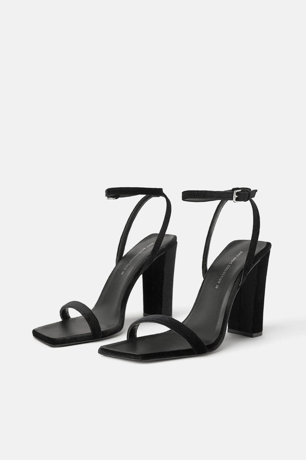c88e67b2808 Velvet wide heeled sandals in 2019 | .fashion. | Heels, Shoes, Sandals