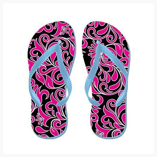 939c4d217 CafePress - Black Pink And White Damask - Flip Flops