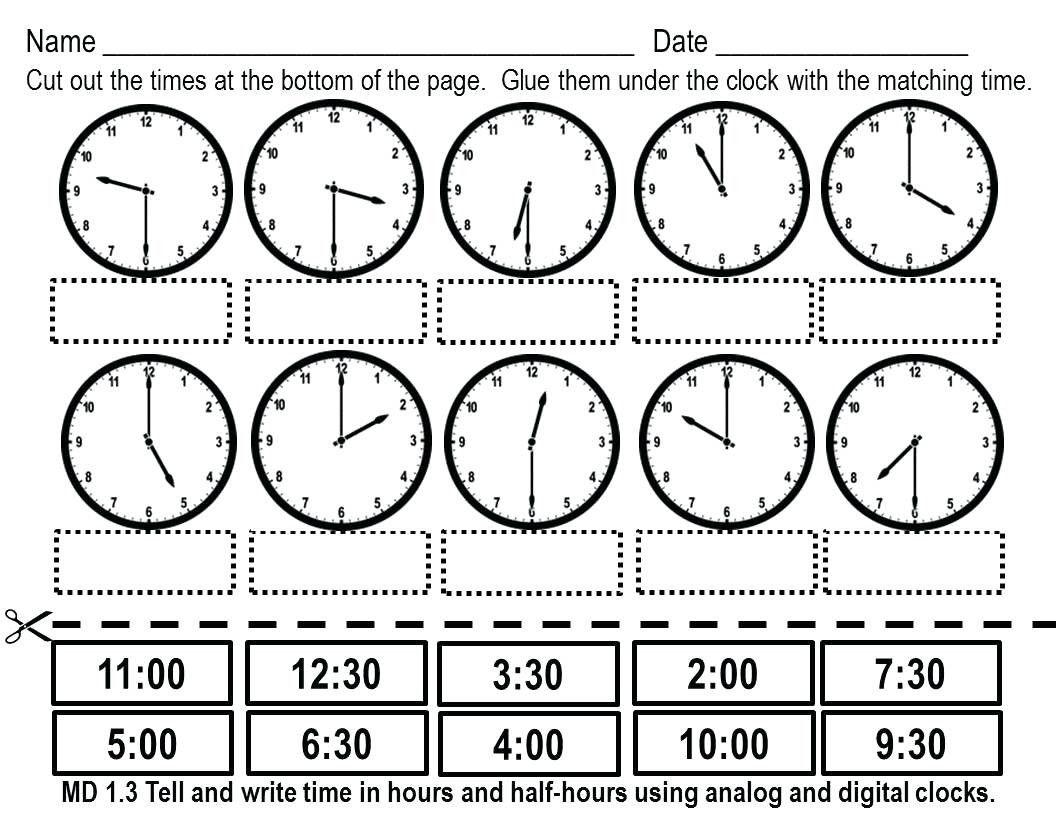 8 Clock Worksheets Grade 1 In
