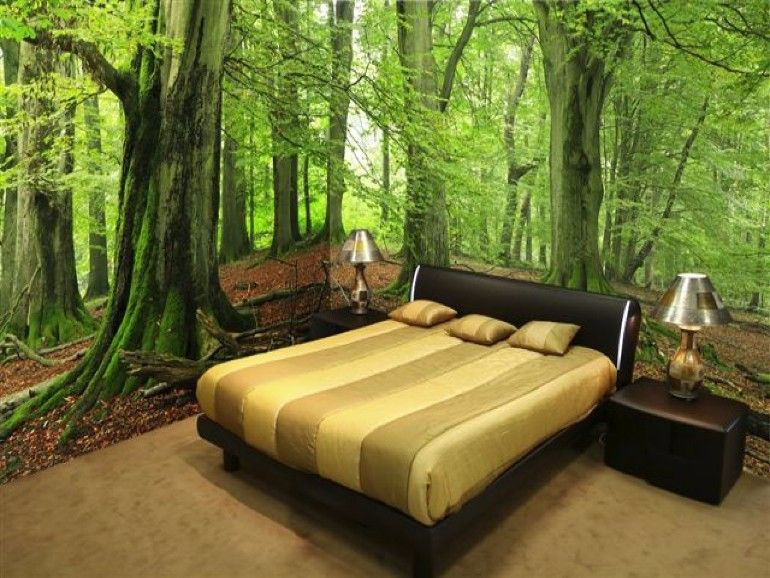 Whimsical Master Bedrooms with Forest Wallpaper | Forest wallpaper ...