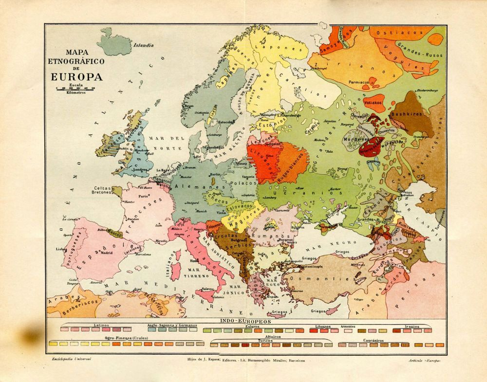 1920s Europe Map.Vintage Ethnographic Map Of Europe 1920s Ethnic Groups Karte