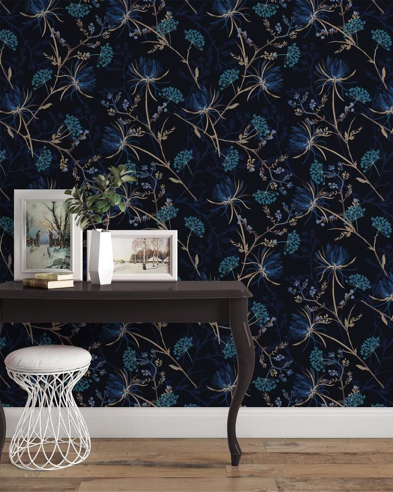 Removable Wallpaper Dark Garden Floral Peel And Stick Wallpaper Wall Mural Reusable Wall Art Self Adhesive Wallpaper Eco Friendly Traditional Wallpaper Removing Old Wallpaper Self Adhesive Wallpaper