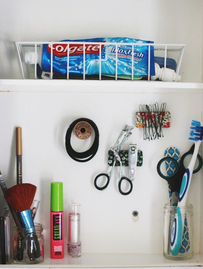 Diy bathroom organization ideas create pretty do it yourself diy bathroom organization ideas create pretty do it yourself magnets to organize the small metal items inside of your medicine cabinet step by step solutioingenieria Images