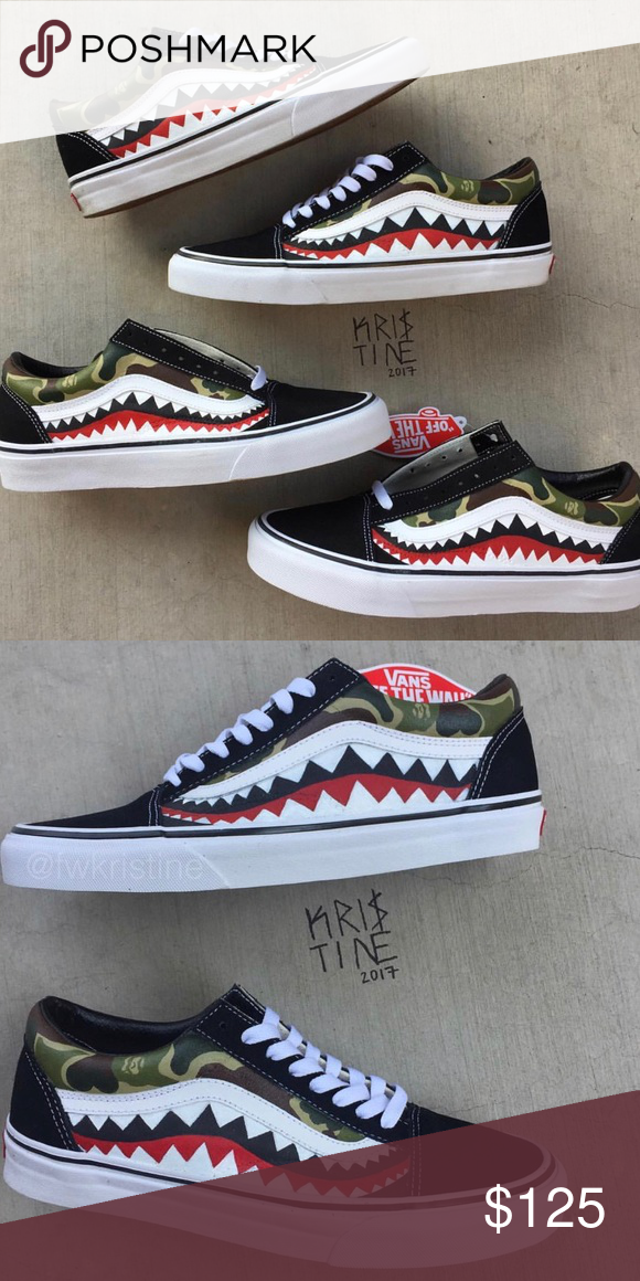 f483d8494f WOMEN Bape Vans Old Skool Customs THE SIZING FOR THESE ARE IN WOMEN SO IF  YOU
