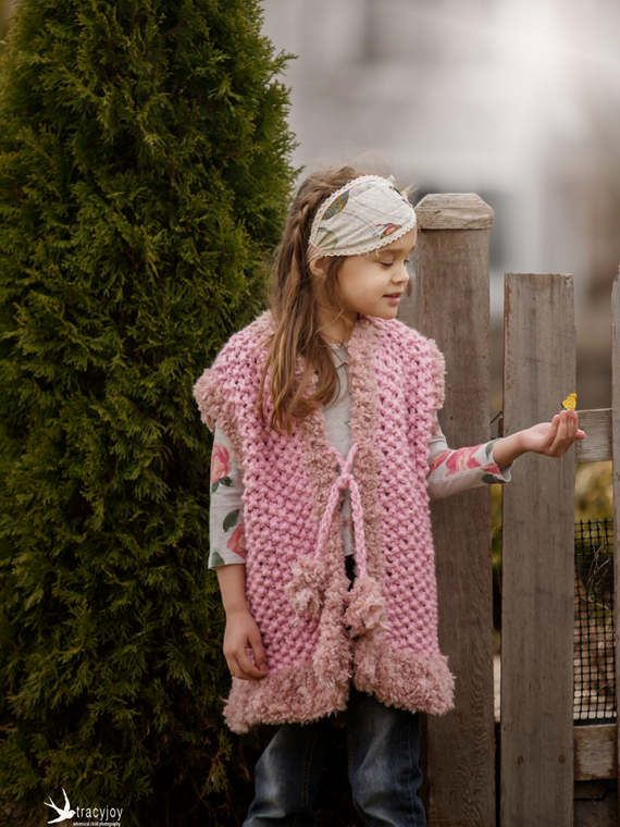 This knitted Vest, girls Bulky knit Vest, girls clothing