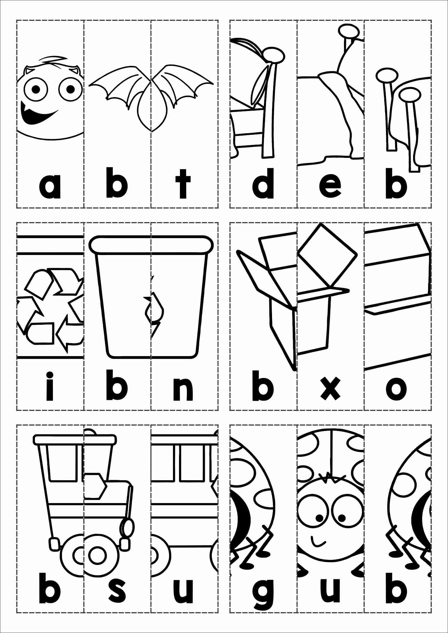 free phonics letter of the week b beginning b cvc words picture scramble cut and paste in. Black Bedroom Furniture Sets. Home Design Ideas