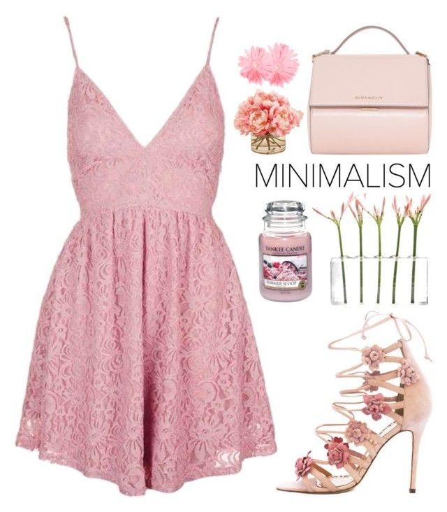 """""""Pink"""" by perfectgirll ❤ liked on Polyvore featuring Topshop, Dot & Bo, Givenchy, Yankee Candle, Marchesa and The French Bee"""