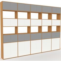 Photo of Storage wall oak – individual designer shelf wall: doors in gray – high quality materials – 375 x 27