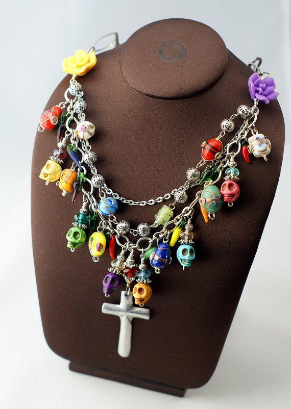 Purple Day of the Dead Sugar Skull Black Glass Halloween Heart Pendant Necklace