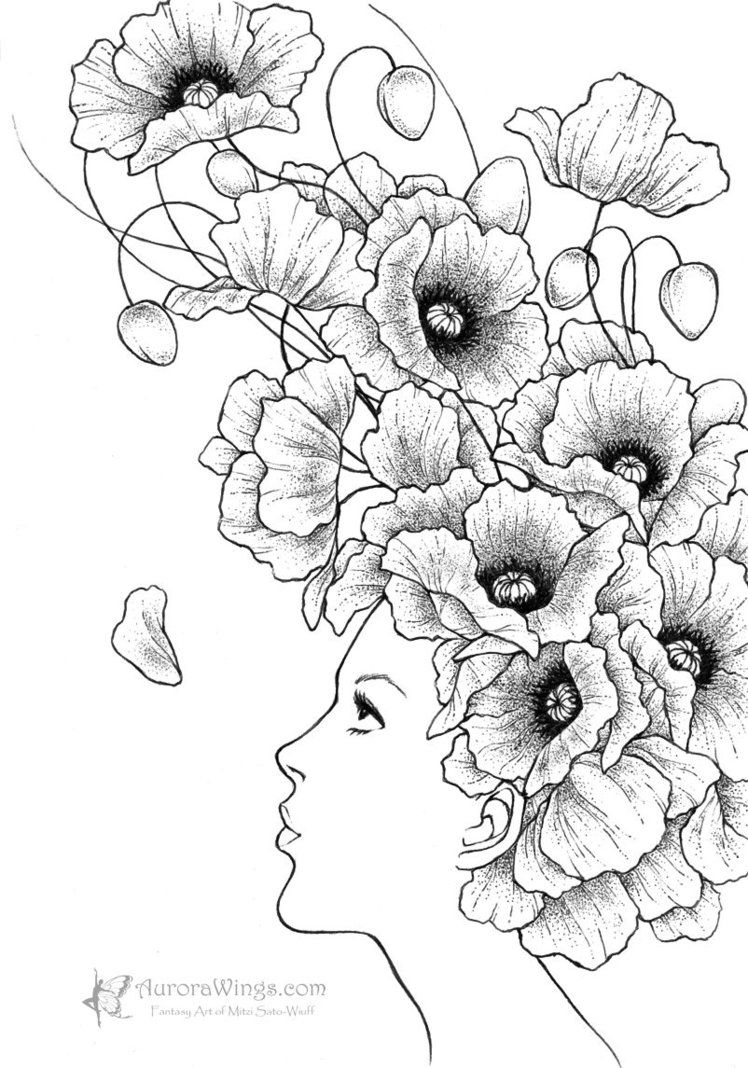 Coloriage Fleur Hippie.Coloriage D Une Femme En Fleurs Etrange Mais Pas Mal A Vos Crayons