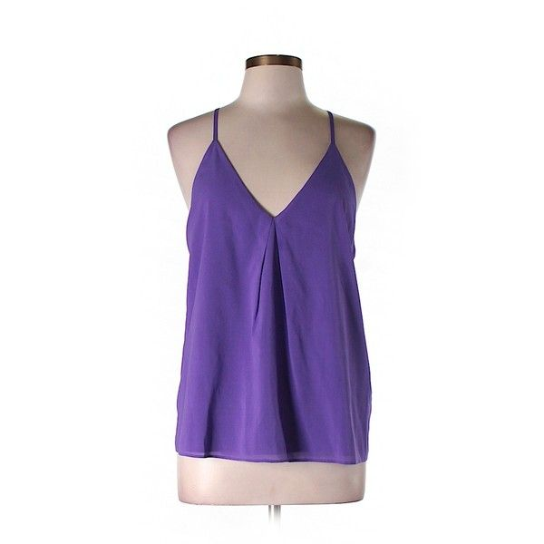 Pre-owned alice + olivia Sleeveless Silk Top (£38) ❤ liked on Polyvore featuring tops, purple, purple sleeveless top, sleeveless tops, sleeveless tank tops, silk sleeveless top and silk tank