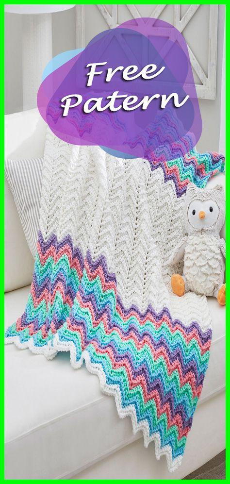 Rippling Rickrack Rainbow Baby Blanket Crochet Free Pattern ...