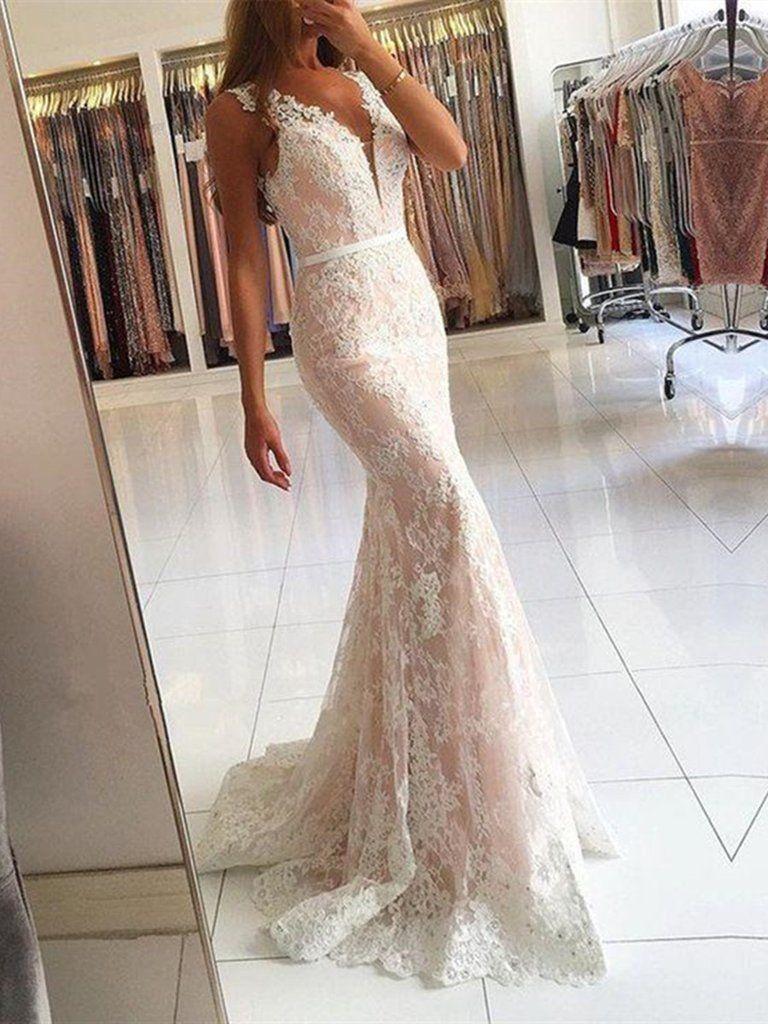 755f13dbb2c Custom Made V Neck Mermaid Lace Champagne Prom Dresses