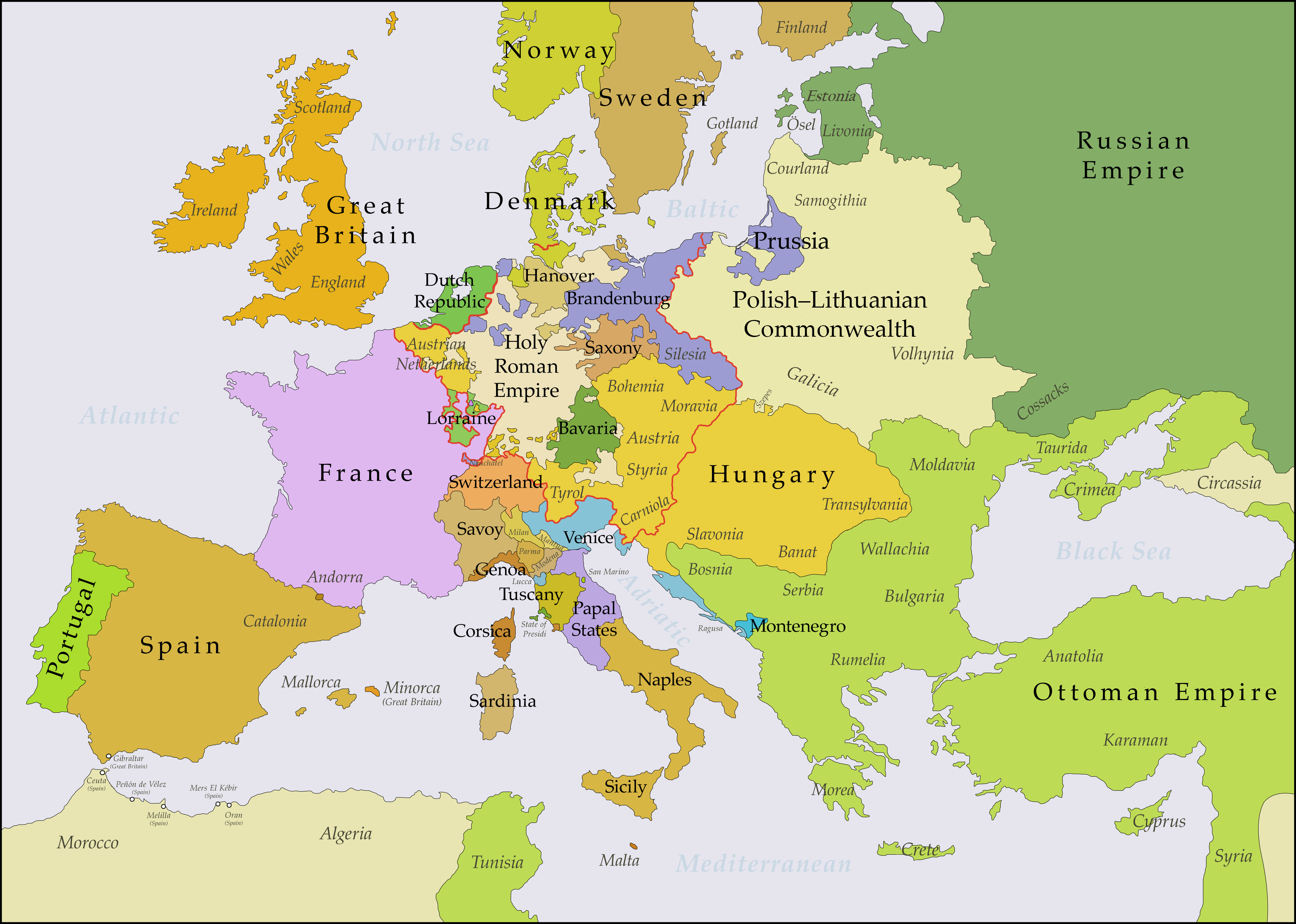 Europe 1750 | Maps and flags | Map, Europe, Historical maps