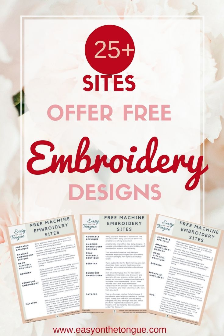15 Sites Free Embroidery Designs | Crafts & DIY~ Home Decor ... on fabric designs, cmemag free designs, lace designs, free print designs, needlepoint designs, free biscornu designs, annthegran free designs, free cross stitch patterns, crochet designs, free brother pes designs, husqvarna viking free monthly designs, free faceting designs, free yoga designs, quilting designs, free banners designs, applique designs, cutwork designs, free sublimation designs, cross stitch designs, free curtains designs,
