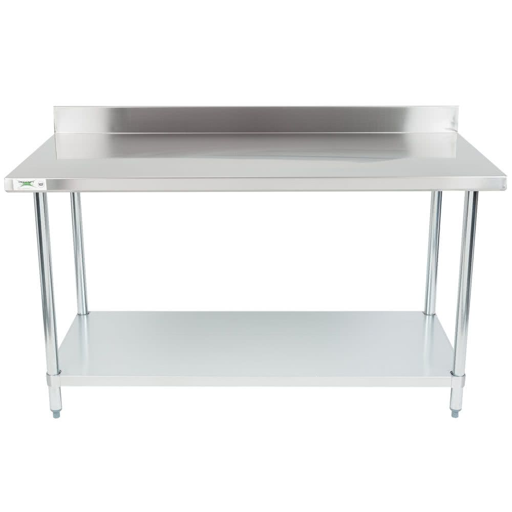 Regency 30 X 60 18 Gauge 304 Stainless Steel Commercial Work Table With 4 Backsplash And Galvanized Undershelf Work Table Backsplash Galvanized