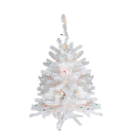 18 Inch Artificial Pre Lit Christmas Tree In White With Multicolor