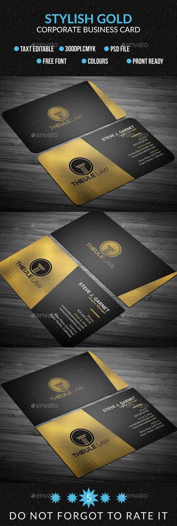 Strlish Gold Corporate Business Card Corporate Business Cards Download Here Https Graphicriver Net Item Strl Corporate Business Card Business Cards Cards
