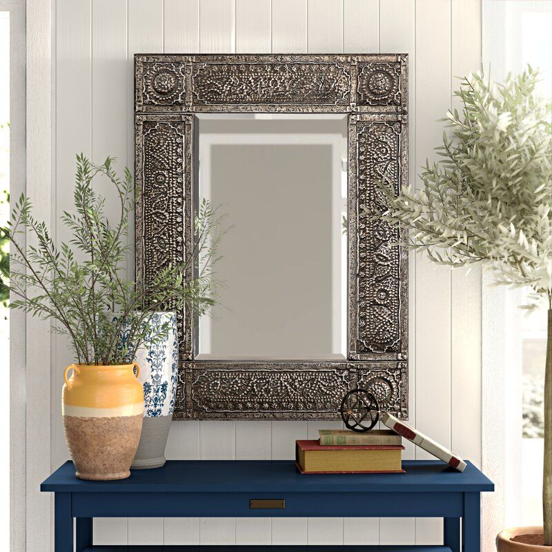 Traditional Beveled Distressed Accent Mirror & Reviews