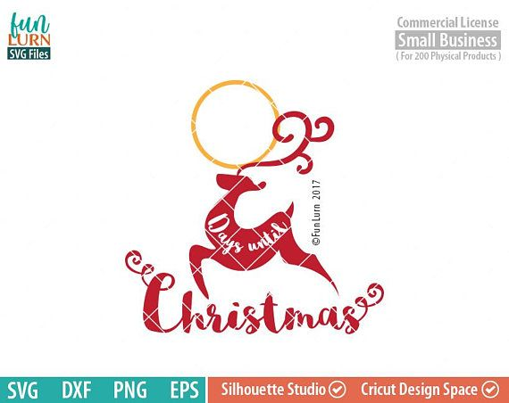 Days Until Christmas Svg Free.Days Until Christmas Svg Reindeer Charger Plate Christmas