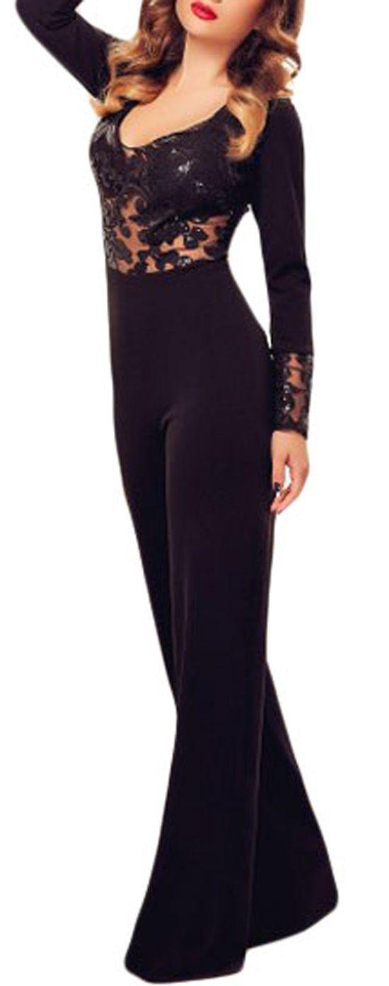Tuta nera donna tuta maniche lunghe tuta elegante tuta pantaloni larghi f6ad6dcb4a4
