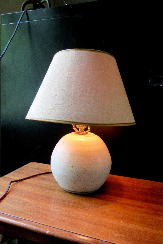 Mid Century Ceramic Lamp Stoneware Round Modern Table Lamp White Stoneware Lamp Speckled White Ston Ceramic Lamp Modern Table Lamp Round Modern Table
