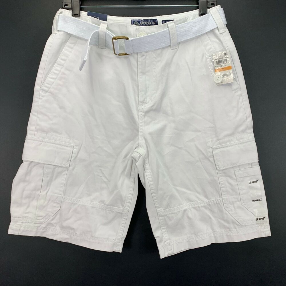 5e3fd63111 (eBay Sponsored) American Rag Mens Belted Relaxed Fit Cargo Shorts White 29