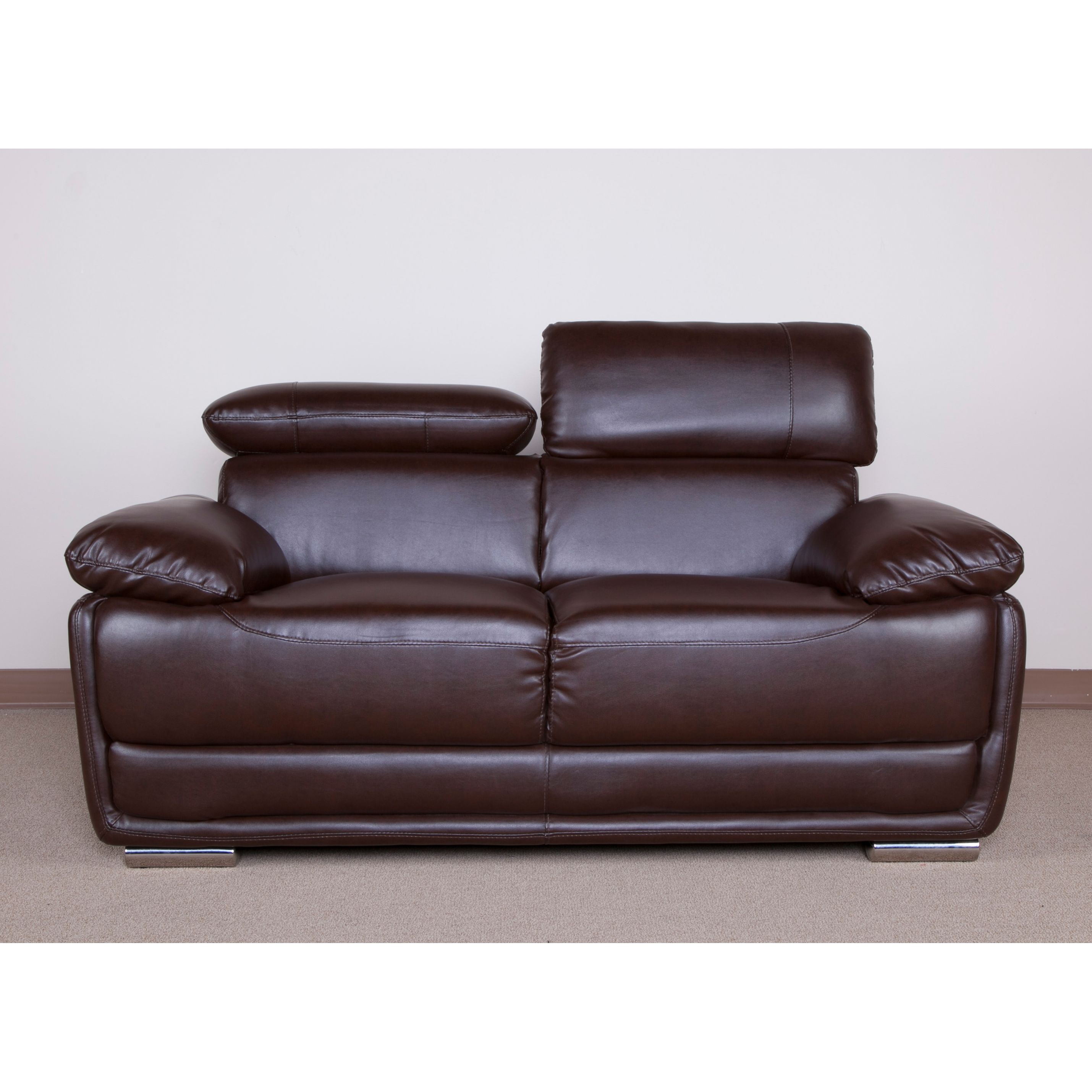 Give your home a fresh new look with this Kyle Bonded Leather Loveseat. This chair features a beautiful brown Bonded Leather upholstery with chromed feet and a soft, comfortable seat.