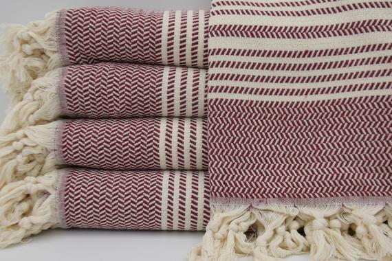 Turkish Towel Turkish Peshtemal Turkish Bath Towel Burgundy Towel Handmade Towel Soft Towel 40 X70 Hammam Towel Peshtemal Towel K3 Hasir Turkish Bath Towels Soft Towels Turkish Towels
