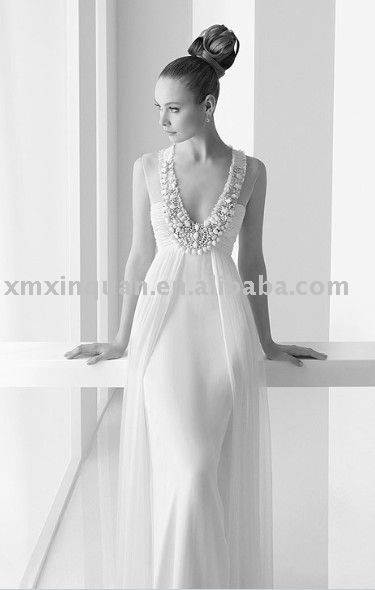 Pw208 Delicate Flat Chest Lady Sleeveless Beaded Overskirt Mermaid Wedding Dress Make