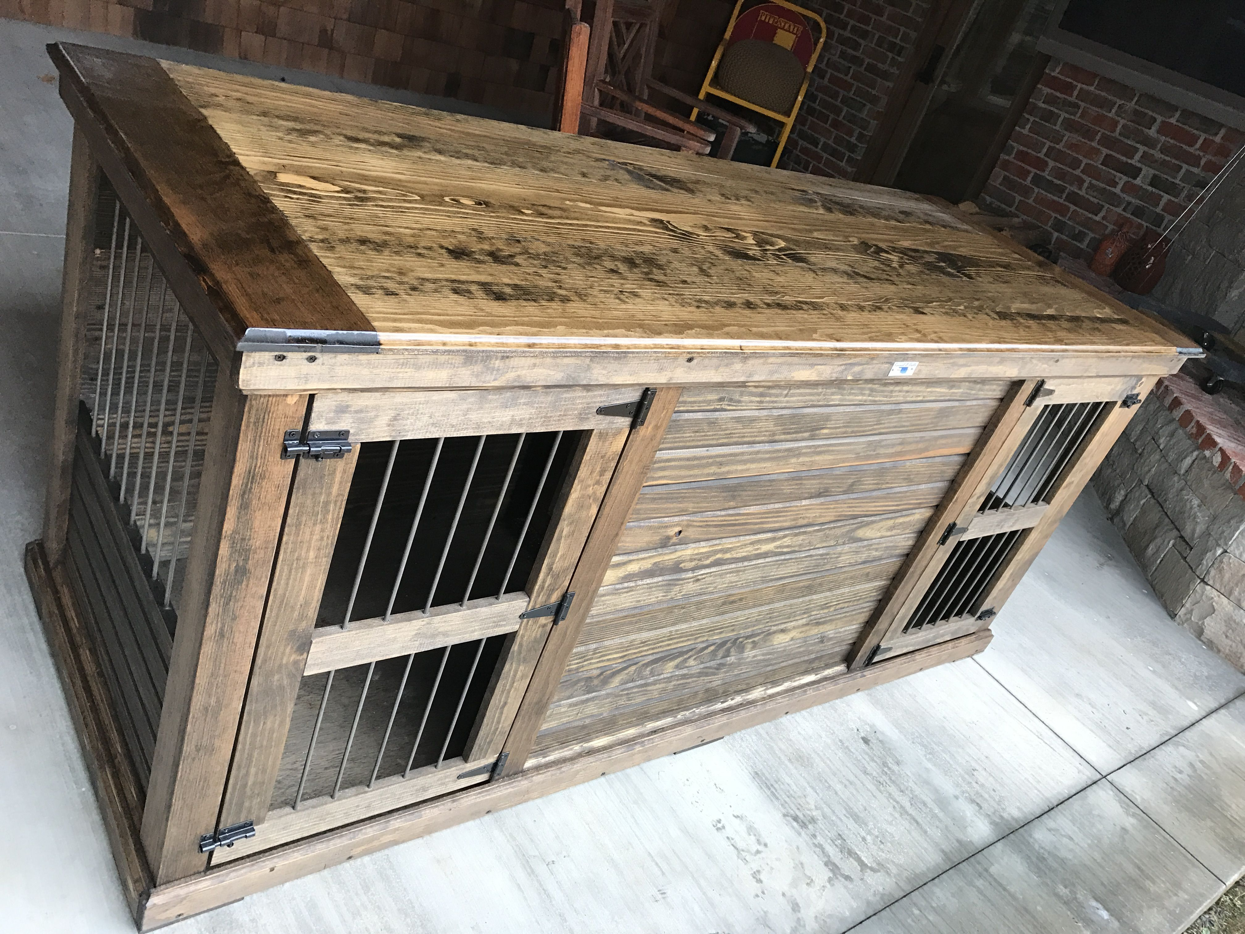 Furniture for the Big Dogs! Extra Large Double outer Dimensions: 84Widex32Deepx40Tall.  Our double kennels come with a standard center door, that allows for two separeate spaces or latch it back for one wide opened area for your pack to snuggle! Check out our website https://www.kennelandcrate.com/ for pricing and finish options!  Not big enough?  We can custom design one for you!  I think this would be a kill kitchen island or entertainment piece! $1295