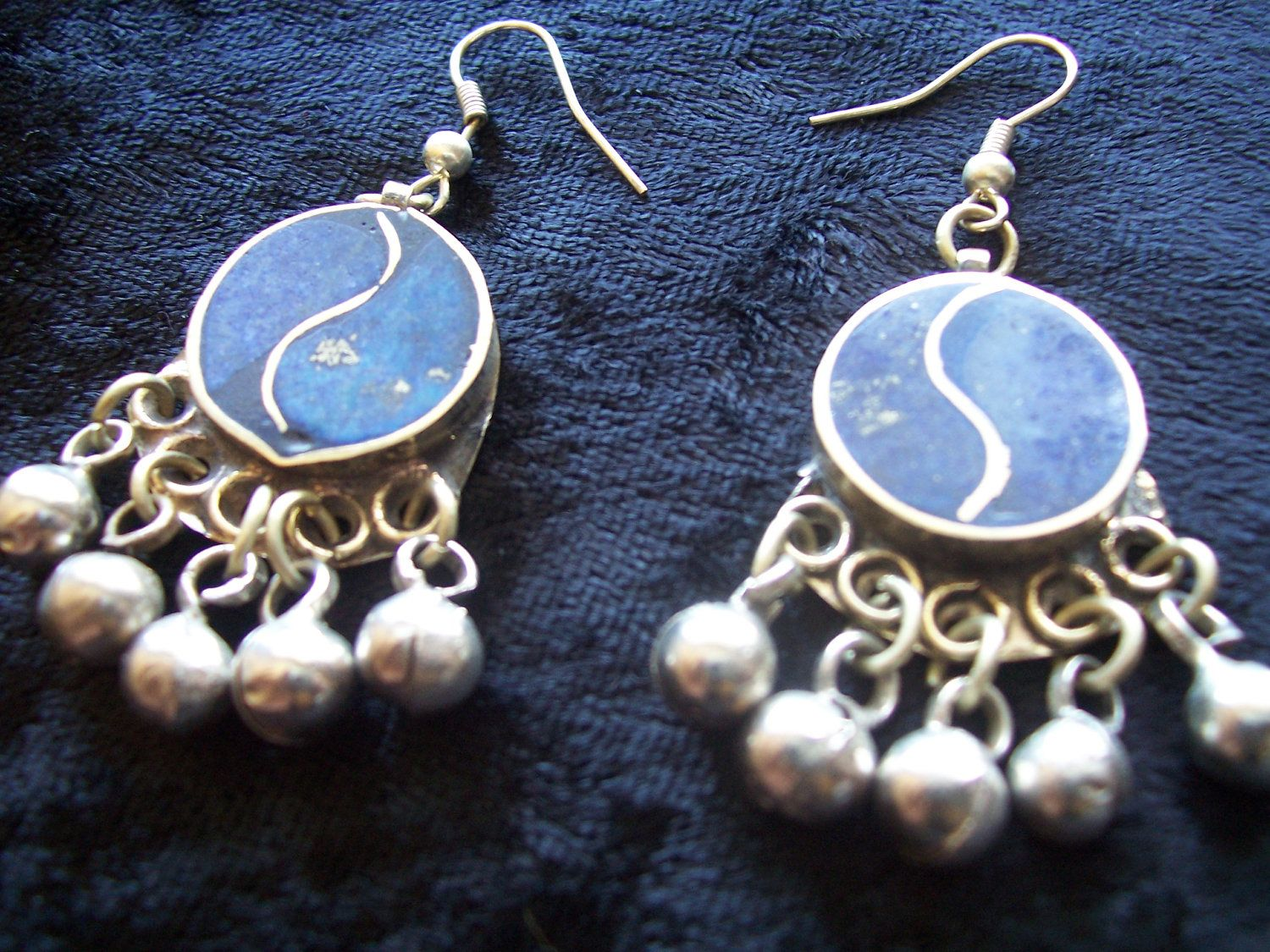 SALE Earrings Afghan tribal lapis and silver alloy now 30% off. $15.40, via Etsy.