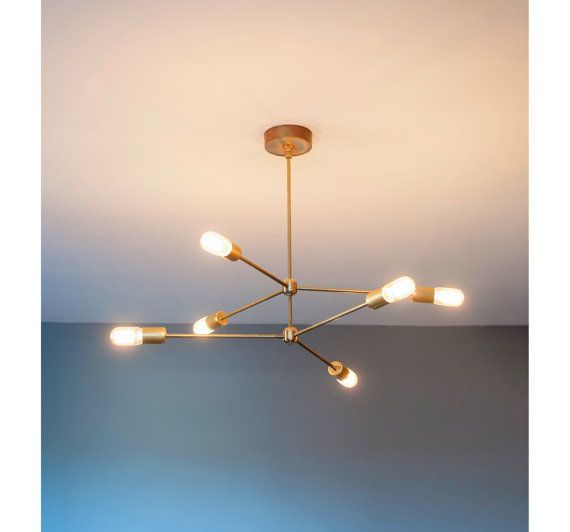 Mid century modern brass chandelier light fixture - 6 Arms Sputnik ...