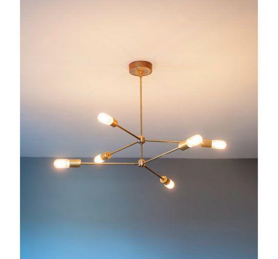 Mid century modern brass chandelier light fixture 6 arms sputnik chandelier ebay