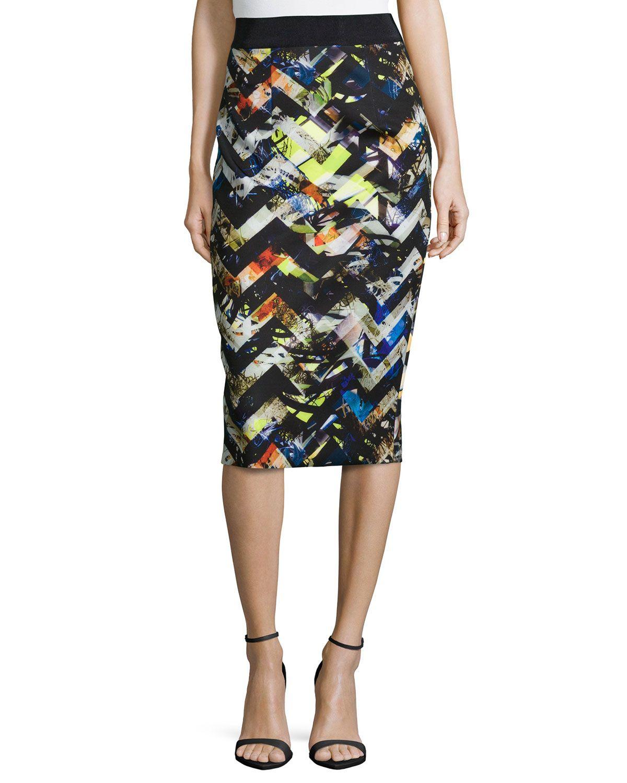 Milly Zigzag Midi Pencil Skirt 936f2afbfa449