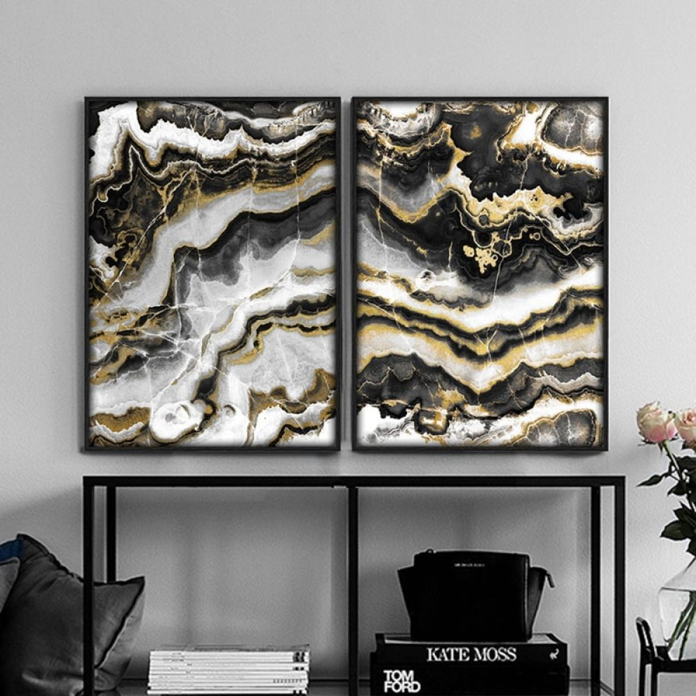 Black And Gold Marble Abstract Style Canvas Printing No Frame Posterprintfun Black And Gold Marble Gold Wall Art Marble Pictures
