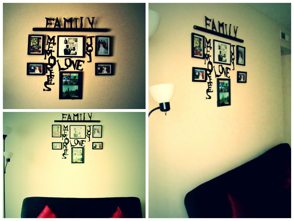 Wall Decor with photo frames and spray painted cardboard letters ...