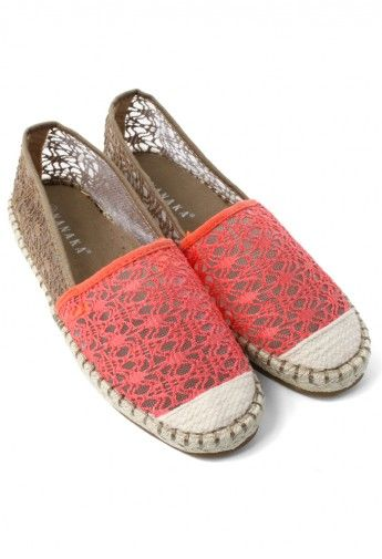 Red Color Block Crochet Flat Shoes