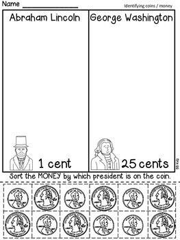 Sorting Money Freebie Kindergarten President S Day Coins Money Kindergarten Kindergarten Social Studies Teaching Money