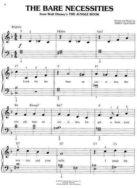 easy disney clarinet music Easy Disney Piano Sheet Music - collection note