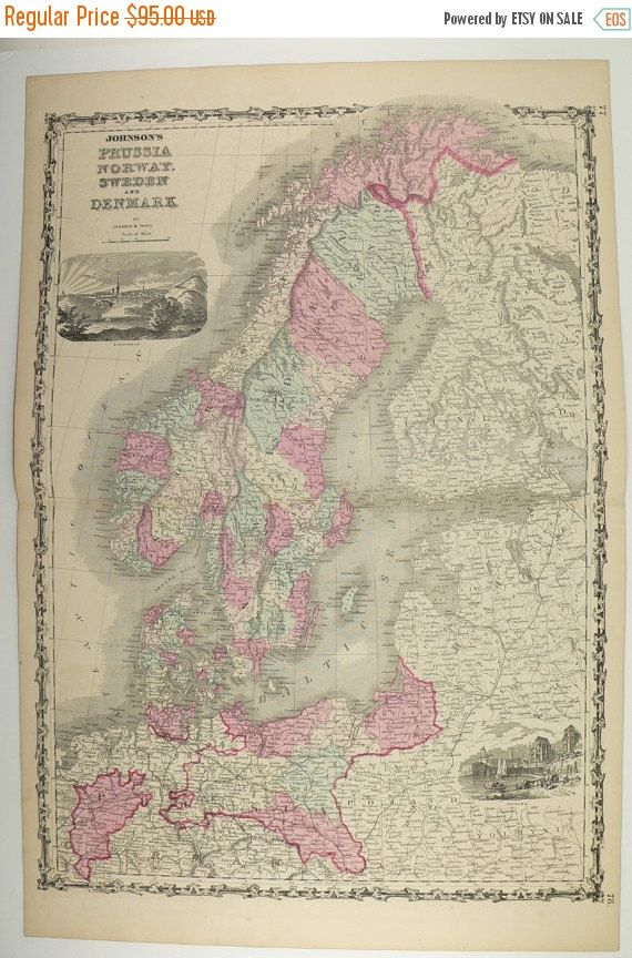 1800s sweden map norway denmark map scandinavia 1862 johnson map unique office gift for coworker antique art map northern europe map