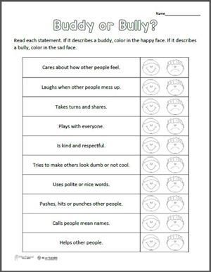 Free Printable: Buddy or Bully? Worksheet | Bullying lessons ...